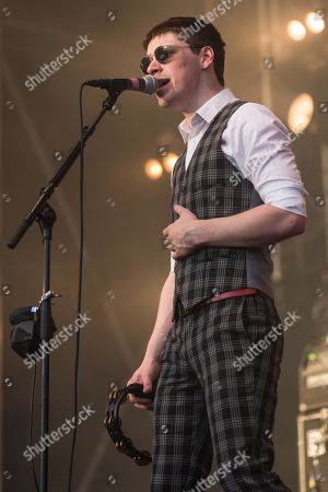 Ross Farrelly, singer from the Irish rhythm and blues band The Strypes live at the 26th Heitere Open Air in Zofingen, Aargau, Switzerland