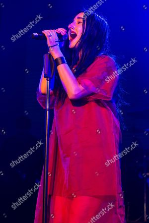 Stock Photo of The US American singer-songwriter and music producer Zola Jesus live at the Blue Balls Festival Lucerne, Switzerland