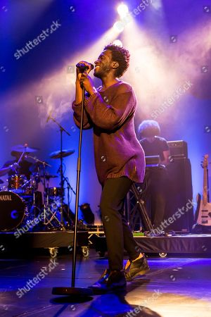 Stock Photo of The British soul singer Kwabs live at the Blue Balls Festival Lucerne, Switzerland