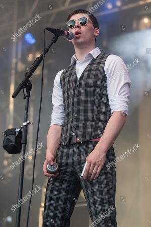 Stock Photo of Ross Farrelly, singer from the Irish rhythm and blues band The Strypes live at the 26th Heitere Open Air in Zofingen, Aargau, Switzerland