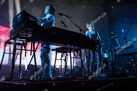 Stock Image of The French synth-pop band Air with guitarist Nicolas Godin and keyboarder Jean-Benoit Dunckel live at the Blue Balls Festival in Lucerne, Switzerland
