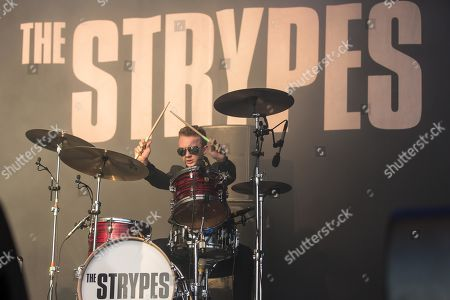 Evan Walsh, drummer from the Irish rhythm and blues band The Strypes live at the 26th Heitere Open Air in Zofingen, Aargau, Switzerland