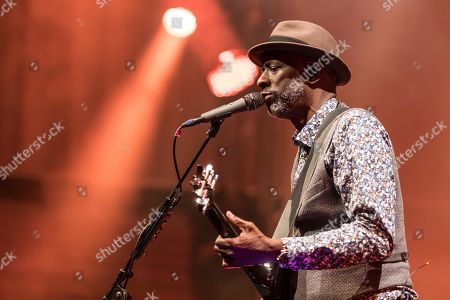 Stock Image of The American blues musicians Taj Mahal and Keb' Mo' live at the Blue Balls Festival in Lucerne, Switzerland