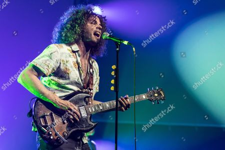 Stock Image of The Australian Rockbaand Wolfmother live at the 26th Blue Balls Festival in Lucerne, Switzerland Andrew Stockdale, vocals and guitar Ian Peres, bass Hamish Rosser, drums