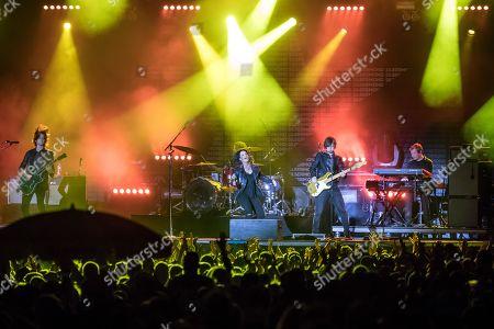 Stock Photo of Die deutsche Pop und Rockband Silbermond live at the 27th Heitere Open Air in Zofingen, Aargau, Switzerland Stefanie Kloss, vocals Johannes Stolle, bass Thomas Stolle, guitar Andreas Nowak, drums