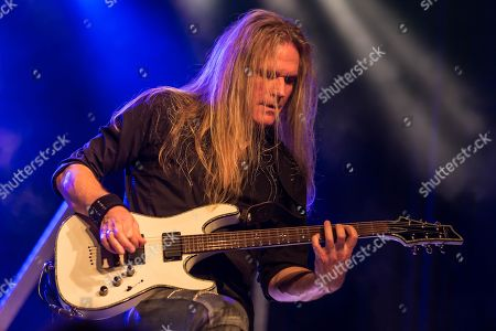 Thomas Muster, guitarist of the Swiss hard rock band Shakra live at the Schueuer Lucerne, Switzerland