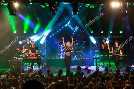 The German electro-pop and singer-songwriter band Glasperlenspiel with singer Carolin Niemczyk and keyboarder Daniel Grunenberg live at a single Swiss concert in the sold out Kofmehl in Solothurn, Switzerland