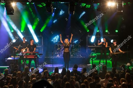 Stock Photo of The German electro-pop and singer-songwriter band Glasperlenspiel with singer Carolin Niemczyk and keyboarder Daniel Grunenberg live at a single Swiss concert in the sold out Kofmehl in Solothurn, Switzerland