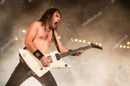 The Australian hard rock band Airbourne live at the Blue Balls Festival Lucerne, Switzerland Joel O' Keeffe, vocals and guitar David Roads, guitar Justin Street, bass Ryan O' Keeffe, drums