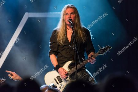 Stock Image of Thomas Muster, guitarist of the Swiss hard rock band Shakra live at the Schueuer Lucerne, Switzerland