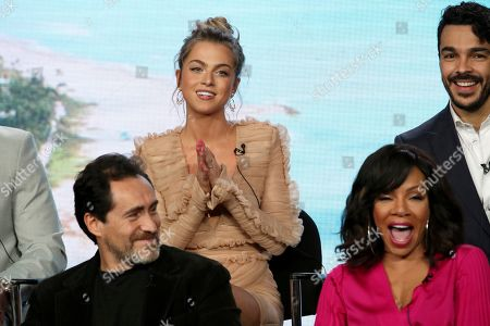 """Stock Picture of Demian Bichir, Anne Winters, Wendy Rachel Robinson, Shalim Ortiz. Demian Bichir, from left, Anne Winters, Wendy Rachel Robinson and Shalim Ortiz participate in the """"Grand Hotel"""" panel during the ABC presentation at the Television Critics Association Winter Press Tour at The Langham Huntington, in Pasadena, Calif"""