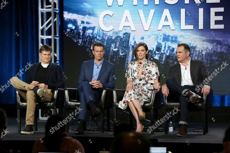 "Stock Photo of Bill Lawrence, Scott Foley, Lauren Cohan, David Hemingson. Bill Lawrence, from left, Scott Foley, Lauren Cohan and David Hemingson participate in the ""Whiskey Cavalier"" panel during the ABC presentation at the Television Critics Association Winter Press Tour at The Langham Huntington, in Pasadena, Calif"