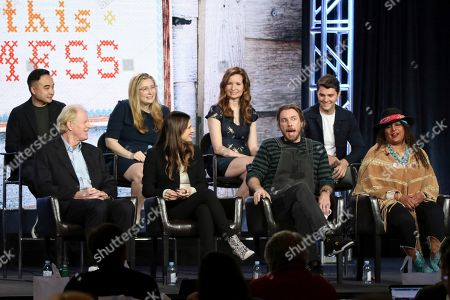 "Ed Begley Jnr., Melvin Mar, Lake Bell, Elizabeth Meriwether, Dax Shepard, Lennon Parham, Pam Grier, Jt Neal. Ed Begley Jnr., from left, Melvin Mar, Lake Bell, Elizabeth Meriwether, Dax Shepard, Lennon Parham, Pam Grier and Jt Neal participate in the ""Bless This Mess"" panel during the ABC presentation at the Television Critics Association Winter Press Tour at The Langham Huntington, in Pasadena, Calif"