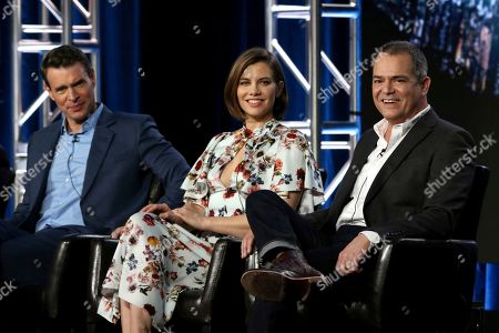 "Scott Foley, Lauren Cohan, David Hemingson. Scott Foley, from left, Lauren Cohan and David Hemingson participate in the ""Whiskey Cavalier"" panel during the ABC presentation at the Television Critics Association Winter Press Tour at The Langham Huntington, in Pasadena, Calif"