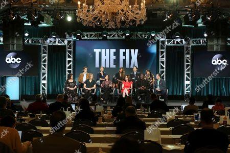 "Sarah Fain, Alex Saxon, Liz Craft, Breckin Meyer, Marcia Clark, Merrin Dungey, Robin Tunney, Adam Rayner, Adewale Akinnuoye-Agbaje, Mouzam Makkar, Scott Cohen. Sarah Fain, from left, Alex Saxon, Liz Craft, Breckin Meyer, Marcia Clark, Merrin Dungey, Robin Tunney, Adam Rayner, Adewale Akinnuoye-Agbaje, Mouzam Makkar and Scott Cohen participate in the ""The Fix"" panel during the ABC presentation at the Television Critics Association Winter Press Tour at The Langham Huntington, in Pasadena, Calif"