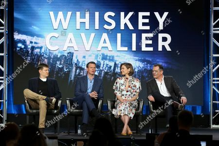 "Bill Lawrence, Scott Foley, Lauren Cohan, David Hemingson. Bill Lawrence, from left, Scott Foley, Lauren Cohan and David Hemingson participate in the ""Whiskey Cavalier"" panel during the ABC presentation at the Television Critics Association Winter Press Tour at The Langham Huntington, in Pasadena, Calif"
