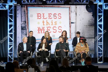 "Ed Begley Jnr., Melvin Mar, Lake Bell, Elizabeth Meriwether, Dax Shepard, Lennon Parham, Pam Grier, Jt Neal. Ed Begley Jnr., from left, Melvin Mar, Lake Bell, Elizabeth Meriwether, Dax Shepard, Lennon Parham, Jt Neal and Pam Grier participate in the ""Bless This Mess"" panel during the ABC presentation at the Television Critics Association Winter Press Tour at The Langham Huntington, in Pasadena, Calif"
