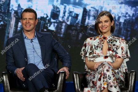 "Scott Foley, Lauren Cohan. Scott Foley, left, and Lauren Cohan participate in the ""Whiskey Cavalier"" panel during the ABC presentation at the Television Critics Association Winter Press Tour at The Langham Huntington, in Pasadena, Calif"