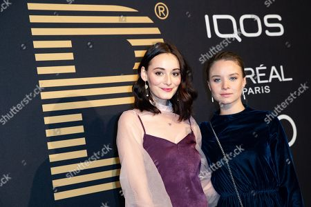 Maria Ehrich (L) and Sonja Gerhardt (R) pose at the black carpet prior to the PLACE TO B Pre-Berlinale Dinner in Berlin, Germany, 05 February 2019.