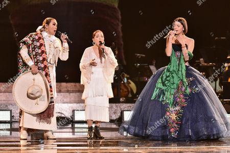 Stock Image of Aida Cuevas, Natalia Lafourcade and Angela Aguilar