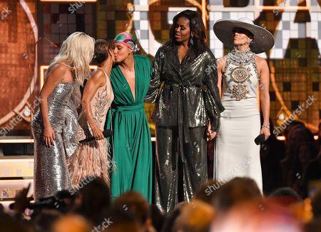 Stock Image of Lady Gaga, Jada Pinkett Smith, Alicia Keys, Michelle Obama and Jennifer Lopez