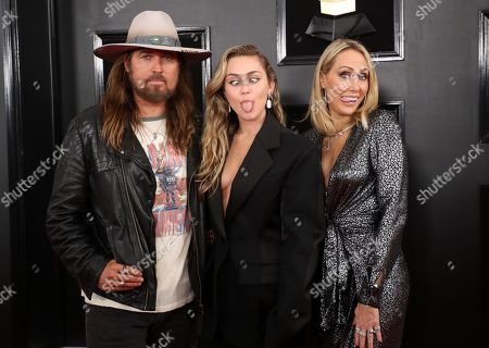 Stock Photo of Billy Ray Cyrus, Miley Cyrus and Letitia Cyrus