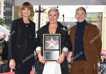 Pink, Kerri Kenney-Silver, Ellen DeGeneres. Kerri Kenney-Silver, from left, Pink and Ellen DeGeneres appear at a ceremony honoring Pink with a star on the Hollywood Walk of Fame, in Los Angeles