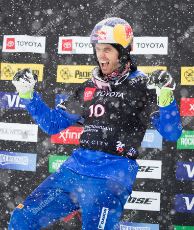 Stock Picture of Roland Fischnaller of Italy celebrates his second place finish in the Snowboard Parallel Slalom at Park City Mountain Resort for the FIS World Championships in Park City, Utah, USA, 05 February 2019.