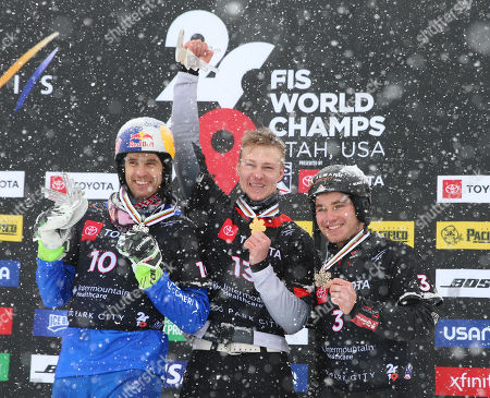 Dmitry Loginov (C) of Russia, Roland Fischnaller (L) of Italy and Stefan Baumeister (R) of Germany celebrate their first second and third place finishes in the men's Snowboard Parallel Slalom at Park City Mountain Resort for the FIS World Championships in Park City, Utah, USA, 05 February 2019.