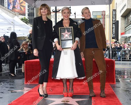 Pink, Kerri Kenney-Silver, Ellen DeGeneres. Pictured with Kerri Kenney-Silver, left, and Ellen DeGeneres, right, Pink poses for photographers at a ceremony where the singer receives a star on the Hollywood Walk of Fame, in Los Angeles