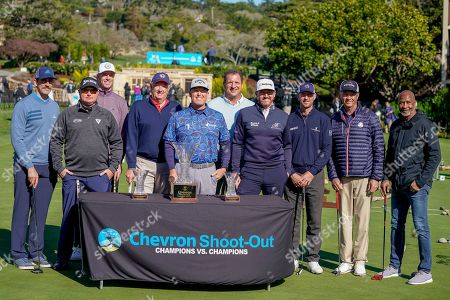 Left to right, Aaron Rodgers, Ted Potter Jr., Matt Ryan, Steve Green, President of Chevron Asia Pacific Exploration and Production, D. A. Points, Harris Barton, Jimmy Walker, Vaughn Taylor, Davis Love III and Lynn Swann participate in the Chevron's 8th annual $100,000 Shoot-Out in the Champions vs Champions to kick off the AT&T National Pro-Am golf tournament, in Pebble Beach, Calif. Since 2013, Chevron has provided over $600,000 to local nonprofits and education organizations through this event