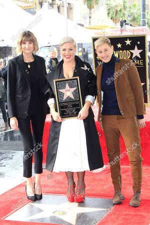 US singer Pink (C) poses with US actress Kerri Kenney-Silver (L) and US talk show host Ellen DeGeneres (R) as she receives the 2,656th Star on the Hollywood Walk of Fame in Hollywood, California, USA, 05 February 2019. The star was dedicated in the Category of Recording.