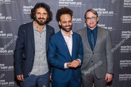 """Matthew Broderick, Geza Rohrig, Shawn Snyder. Geza Rohrig, from left, Shawn Snyder and Matthew Broderick attend a screening of """"To Dust"""" at the Marlene Meyerson JCC Manhattan, in New York"""