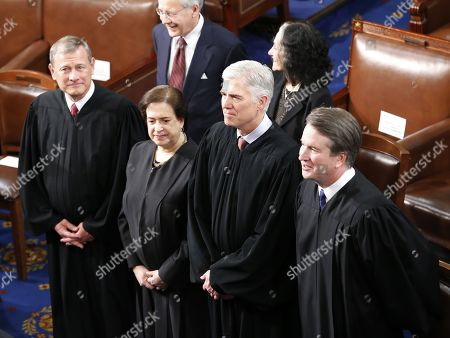 (L-R) Supreme Court Chief Justice John G. Roberts and Associated Justices Elena Kagan, Neil M. Gorsuch and Brett M. Kavanaugh arrives before US President Donald J. Trump delivers his second State of the Union address from the floor of the House of Representatives on Capitol Hill in Washington, DC, USA, 05 February 2019.