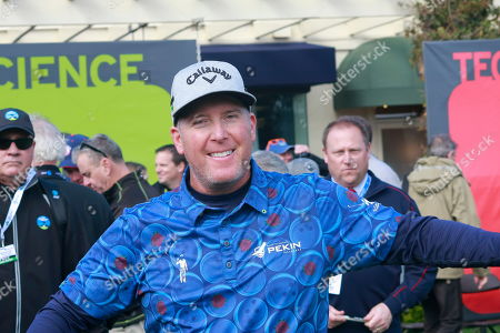 Stock Image of Winner D. A. Points seems cheerful during the fun charity Chevron Winners Shoot-out prior to the start of the AT&T Pro=Am at Pebble Beach Beache links