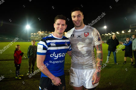 Freddie Burns of Bath Rugby and Matt Banahan of Gloucester Rugby pose for a photo after the match