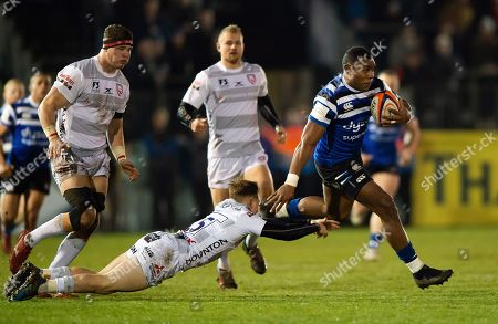 Semesa Rokoduguni of Bath Rugby takes on the Gloucester Rugby defence