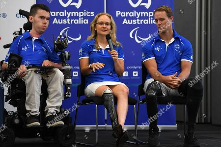 Paralympians (L-R) Dan Michel, Hannah MacDougall and Curtis McGrath share their stories as Australian Prime Minister Scott Morrison (not pictured) announces a 12 million Australian dollar (or 8.592 million US dollar) funding boost to Paralympics Australia in Sydney, Australia, 06 February 2019. The funding will support Paralympic athletes as they work towards the Tokyo 2020 Paralympic Games.