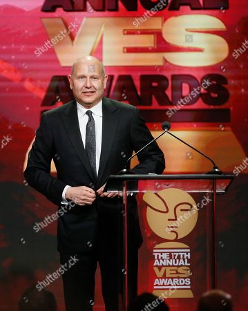 CEO of Illumination Entertainmen Chris Meledandri accepts the VES lifetime achievement award during the 17th annual VES Awards at the Beverly Hilton Hotel