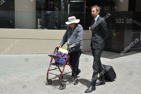 Former private school teacher, 70-year-old Peter James Samuels (L), is seen outside the Perth Magistrates Court in Perth, Australia, 06 February 2019. Samuels appeared briefly in court on child sex offences, allegedly committed against a 15-year-old boy in 1975, and will next face court on 13 March.