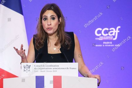 French-Lebanese journalist and TV host Lea Salame speaks during the annual dinner of the Co-ordination Council of Armenian organisations of France (CCAF), in Paris