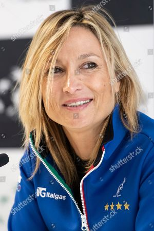 Team captain Tathiana Garbin of Italy during a press conference of the Italian Fed Cup team in Biel, Switzerland 06 February 2019. Italy will face Switzerland in a Fed Cup World Group II encounter on 09-10 February.