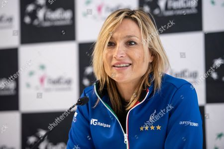 Stock Photo of Team captain Tathiana Garbin of Italy during a press conference of the Italian Fed Cup team in Biel, Switzerland 06 February 2019. Italy will face Switzerland in a Fed Cup World Group II encounter on 09-10 February.