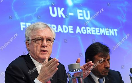 Stock Image of Former British Secretary of State for Exiting the European Union David Davis (L) with businessman Sir Rocco Forte (R) during a press conference in London, Britain, 06 February 2019. Davis launched a paper proposing a UK/EU free trade agreement in central London.
