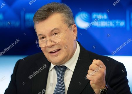 Former Ukraine President Viktor Yanukovych speaks during a news conference in Moscow, Russia