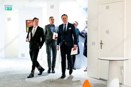 CEO Ralph Hamers (3-L) of ING arrives before an event to announce the annual year results in Amsterdam, The Netherlands, 06 February 2019.