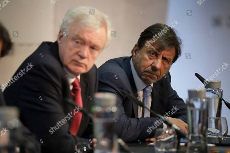 """Stock Photo of David Davis, left, Britain's former Secretary of State for Exiting the European Union and Sir Rocco Forte the chairman of Sir Rocco Forte Hotels listen as they take part in the launch of an event for a proposed """"Comprehensive Free Trade Agreement between the UK and the European Union"""" at the Queen Elizabeth II Conference Centre in London,. Following talks with Northern Ireland's political parties Wednesday, Prime Minister Theresa May plans to meet with European leaders in Brussels on Thursday seeking changes to the so called Irish backstop, before Britain leaves the EU on upcoming March 29"""