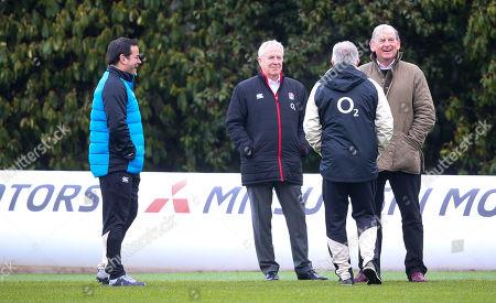 Will Carling (L), RFU Interim Chief Executive Officer Nigel Melville & Andy Cosslett  (R) Chairman of the Rugby Football Union (RFU) watch training
