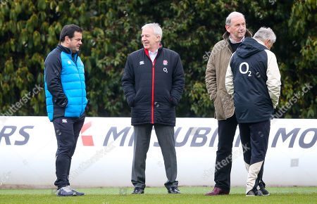 Will Carling (L), RFU Interim Chief Executive Officer Nigel Melville & Andy Cosslett  (R facing) Chairman of the Rugby Football Union (RFU) watch training