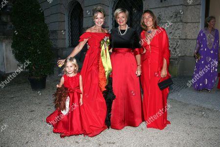 Stock Image of Maya von Schoenburg-Glauchau with daughter Charlotta, sister Gloria von Thurn and Taxis, Prinzessin Alessandra Borghese